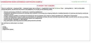 Storekeeper Resume Sample by Ammunition Storekeeper Work Experience Letters