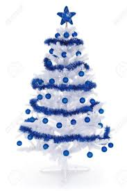 artificial white tree on white decorated with blue