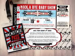 rock star concert ticket baby shower invitation coed baby shower
