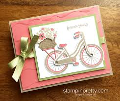 beautiful bike ride birthday card idea stampin u0027 pretty