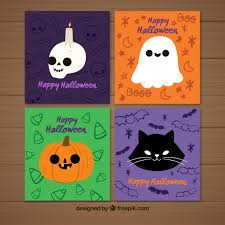 pack of nice halloween cards vector free download