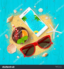 summer vacation background top view on stock vector 589382873