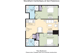 club wyndham wyndham canterbury at san francisco wyndham canterbury at san francisco 2 bedroom floor plan