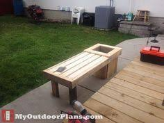 cedar bench with two attached planter boxes each cedar bench with