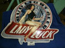 bud light metal sign vintage bud light lady luck beer lady metal sign 1991 32 x 36 ml