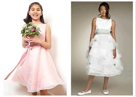 with white polka dots junior bridesmaid dress white tiered tea