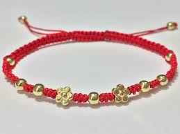 lucky red string bracelet images Lucky red string feng shui gold mini daisy flower shamballa jpg