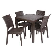 Poly Resin Outdoor Benches Square Poly Resin Weave Effect Garden Dining Set