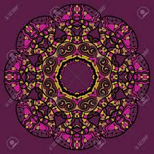 stylized flower mandala like oriental design in violet color