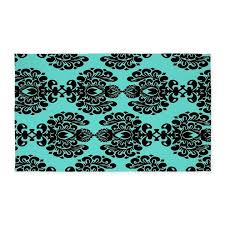aqua blue and black ornate damask 3 u0027x5 u0027 area rug by admin cp931769