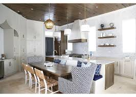 Coastal Cottage Kitchen Design - dining banquette built on back of kitchen island cottage kitchen