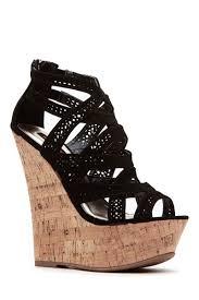 black laser cut curves ahead cork wedges cicihot wedges shoes