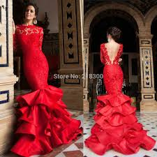 com buy red lace mermaid backless prom dresses long sleeves