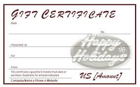 free holiday gift certificates template