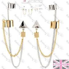 cuff earrings with chain h m earrings earcuffs ear cuff pair gold silver tone geometric