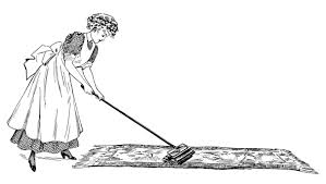 cleaning day ladies vacuuming and dusting free vintage clip art