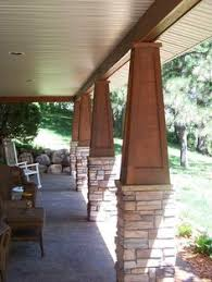 stained wood paneled tapered atop a stone pedistal craftsman