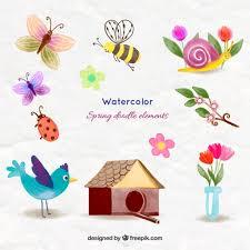 imagenes de animales y cosas acuarela preciosos animales y cosas de primavera descargar