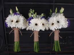 white gerbera daisy bouquets with purple lisianthus and twine wrap