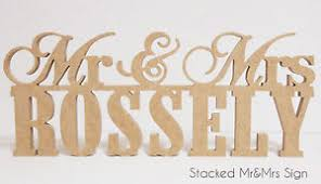 mr and mrs table decoration stacked mr mrs surname mdf wedding wooden name sign bridal table
