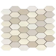 shop allen roth blended pickets honeycomb mosaic porcelain wall