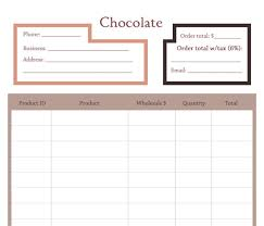 Order Sheet Template Price Sheet Or Order Form Template For The Chocolate Line