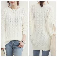 white sweater sweater asymmetrical zip side knit pullover top from doublelw on