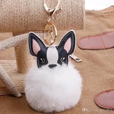 acrylic rabbit ring holder images Fluffy rabbit fur ball french bulldog keychain pompom key chain pu jpg