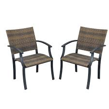 Fake Wicker Patio Furniture by Home Styles Newport Synthetic Weave Patio Armchair 2 Pack 5600