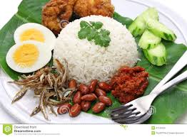 rice cuisine nasi lemak coconut rice malaysian cuisine stock photo image