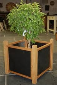 bespoke oak planters custom made in oak with slate sides