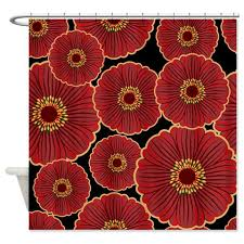 Oriental Shower Curtains Bold Oriental Flowers On Black Shower Curtain Kawelamolokai Com
