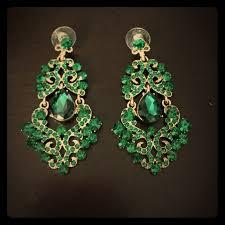Colorful Chandelier Earrings 60 Off Jewelry Emerald Green Colored Chandelier Earrings From