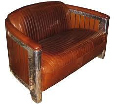 canape cuir vintage canapé manhattan alu et bois 2 places canapé