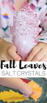 salt crystal leaves science experiment for kids fall stem project