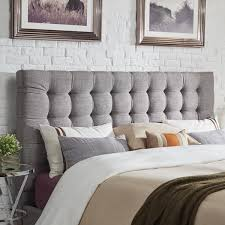 Linen Upholstered King Headboard Briella Button Tufted Linen Upholstered King Size Headboard By Mid