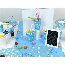 vaisselle jetable fete 10 gobelets joyeux anniversaire bleu vaisselle jetable à thème