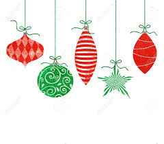 five retro ornaments hanging by green string stock