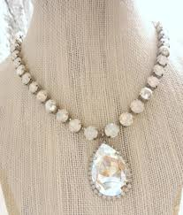 white opal necklace swarovski crystal white opal and pearl necklace with large pear