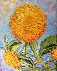 teddy sunflowers sunflowers teddy 8x10 original impasto painting by