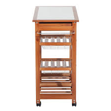 homcom 29 quot portable rolling trolley kitchen cart tile wooden