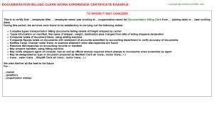 Billing Clerk Resume Sample by Documentation Billing Clerk Work Experience Certificate