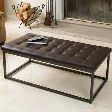 leather and metal ottoman babette brown leather and steel frame ottoman by christopher knight