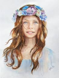 floral headpiece put your in a girl with flower crown painting template