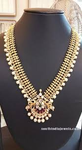 long pearls necklace images Gold pearl long necklace design south india jewels jpg