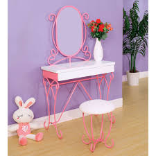 Pink Vanity Set Fantasy Fields Bouquet Girls Oval Mirror Bedroom Vanity U0026 Stool