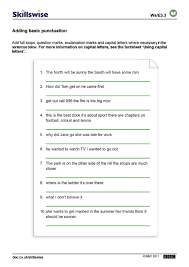 punctuation worksheets worksheets