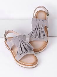 grey tassel espadrille flat sandalsfor women romwe