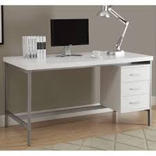 Office White Desk White And Silver Metal 48 Inch Computer Desk Free Shipping Today