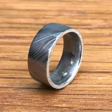 damascus steel wedding band flat profile damascus steel wedding band titanium buzz